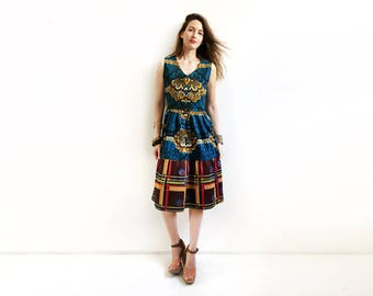 Blue African Dress, African Party Dress, Unique Ankara Dress, Knee Length Dress, V Neck Dress, Blue Spring Dress, African Fashion, XS S M M+