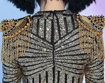 Striped Golden Sequinned Long Sleeved Bodysuit with beaded tassels