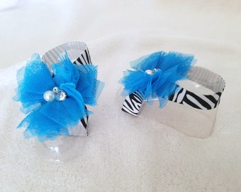 Blue and Zebra, Baby Barefoot Sandal, Baby Ribbon Sandals, Baby Sandal, Zebra Ribbon Sandals, Blue Tulle Flower, Infant Sandals, Baby Shoe