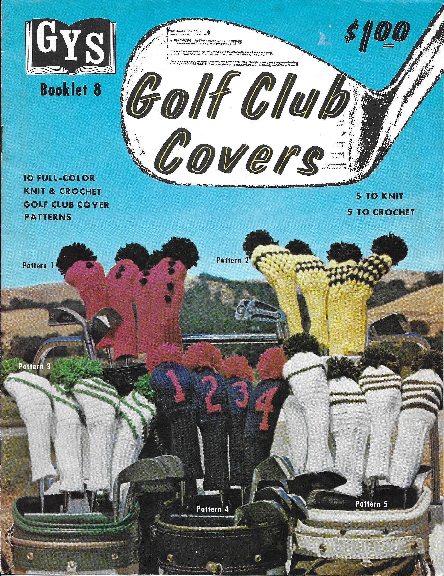 Vintage golf club covers knit and crochet patterns 5 to knit 5 to sold by vintagepatternsbymtz bankloansurffo Images