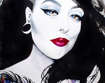 Fashion Portrait Original Painting Jet Black Hair Red Lipstick Edgy Salon Decor, Fashion Illustration