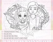 Fae Lovers Fairy Faery Valentine Fantasy UNCOLORED Digital Stamp Image Adult Coloring Page jpeg png jpg Craft Cardmaking Papercrafting DIY