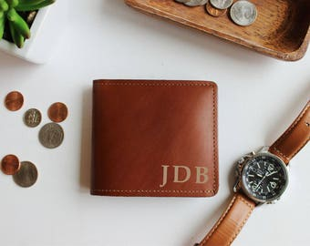 Personalized Leather Wallet, Monogram, Christmas Gift, Mens Leather Wallet, Gift For Him, Groomsmen, Bifold Wallet, Wedding Gift, Dad