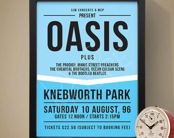 Oasis - Knebworth '96 Gig Poster, Concert Poster, Music Print
