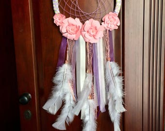 Dream catcher. Purple and peach flower dream catcher. Nursery decor. Girls room decor