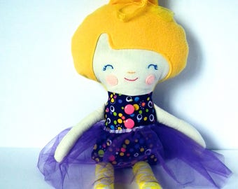 Cloth Doll. Handmade rad doll. Bright and happy. Purples and Yellow. Great Christmas gift idea.