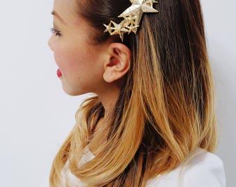 Gold Plated Star Hair Clip Barrette, Cute Hair Accessories, Hair Barrette, Star Hair Clip, Golden Hair Accessories