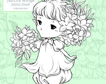 PNG Digital Stamp - Whimsical Jasmine Sprite - Instant Download - digistamp - Fantasy Line Art for Cards & Crafts by Mitzi Sato-Wiuff
