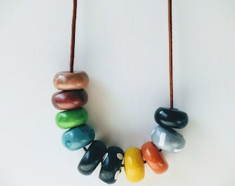 Polymer Clay Bead Necklace.Bold and modern handmade,statement necklace. Black,Gray,Copper,Green,Turquoise,Yellow,Orange clay bead necklace.