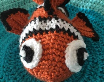 Nemo inspired clown fish crocheted lovey/security blanket