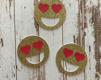 Glitter Emoji 12pcs Die Cut/Party Decorations/Embellishment/Table Scatter/Gift Tags - Heart Eyes