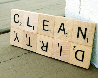 Clean Dirty Dishwasher Magnet Scrabble Sign | Gift for Housewarming, Stocking Stuffer, Wedding, Newlyweds, Welcome Gifts, or Showers