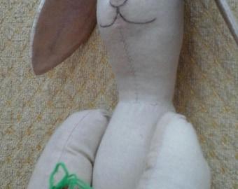 handmade cloth rag art doll - hare with carrot