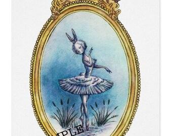 Swan Lake Ballet Bunnies Note card set B (4 card with envelope)