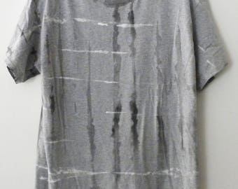 Graphic T-shirt, Gray Tee shirt, Tie dye T-shirt, Grunge Tee, retro, hand painted , dip dye, white, black, hipster, Rave, Urban, Grid Shirt