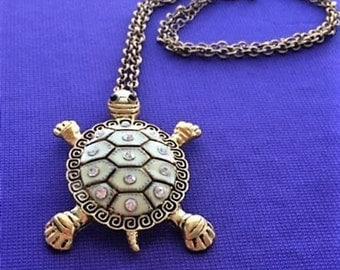 Vintage Large Brass Enameled Turtle With Rhinestones & Greek Key, Pendant  Necklace