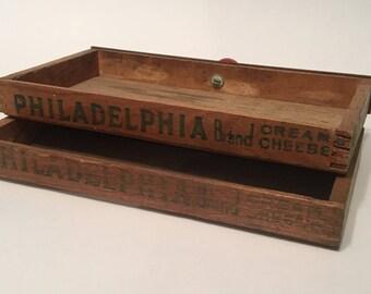Vintage Wooden Philadelphia Cream Cheese Boxes