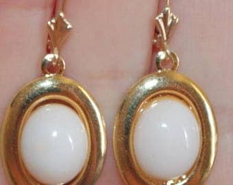 Antique 14K Gold / GF 38MM Blush Angel Skin Coral Oval lever Back Earrings AAA