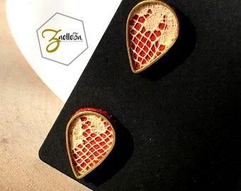 """Boucles d'oreille Clou or 14K /  Cadeau St Valentin / gouttes doré cuir rouge dentelle - modèle PLUIE - Coll.""""Mon Coeur Mon Amour"""" Cadeau"""