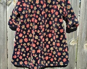 Vintage Girls Fleece Floral Dress Coat Size 2
