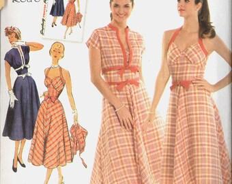 Uncut Size 14 16 18 20 22 1950s Retro Dress Jacket Simplicity 3780 Vintage Sewing Pattern 50s Bombshell Halter Plus