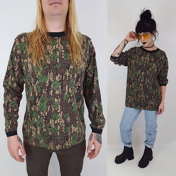 90's Distressed Long Sleeve Camo T-Shirt Large XL - Camouflage Big & Tall Plus Size Cotton Unisex Baggy Shirt - Green Brown Comfy Tee