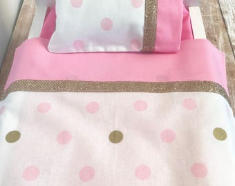 Doll Bedding, 18 Inch Doll Bedding, Doll Sheets, Doll Pillow, Pink, White, Gold, Includes Sheet, Pillow Case and Pillow