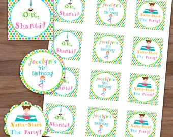 Yoga Party Circles - Favor Tags - Stickers - Envelope Seals - Cupcake Toppers - Polka Dots - Printable or Printed - SHIPPING INCLUDED - 2in