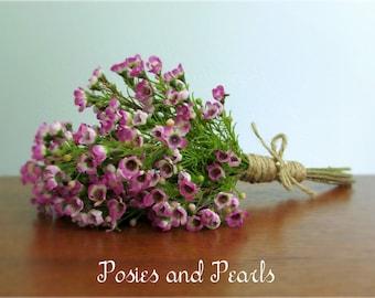"Fuchsia Waxflower Bouquet, Rustic Jute Twine Wrap, Bridal or Bridesmaid Bouquet, Silk Wedding Flower Package, ""Hope"""