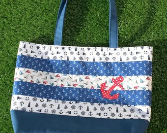 Summer Tote Bag, Nautical Beach Bag, Patchwork Bag, Summer Beach Tote, Holiday Bag, Applique Anchor, Shopping Bag, Shoulder Bag, Summer Bag