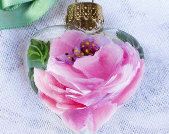 Pink Rose Heart Ornament ~ February Birthday ~ Shabby Rose Ornament ~ Handpainted Roses~ Sweetheart Gift