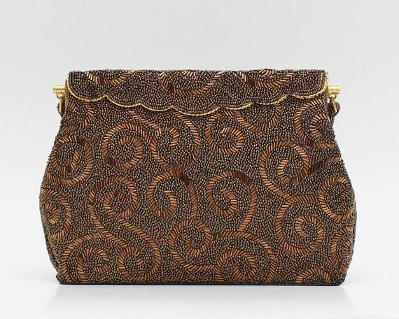 Vintage 50s Copper Beaded Handbag