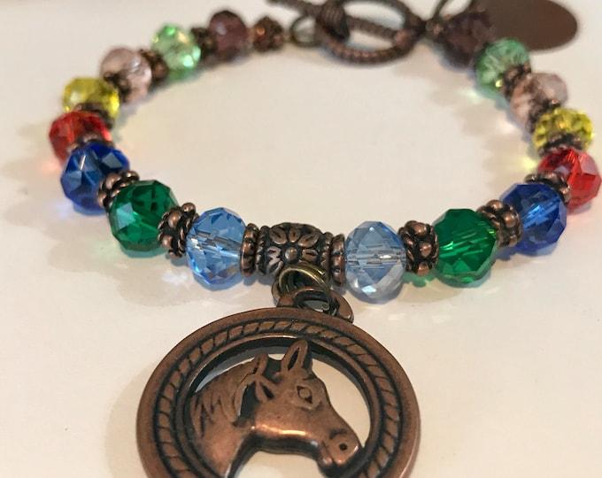 Rainbow bridge horse memorial bracelet / pet loss