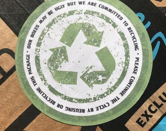 recycling sticker - packaging stickers - happy mail sticker - ugly box stickers - stickers for packages - happy mail