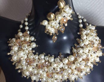 Caviar Pearl and Crystal Necklace Sample sale