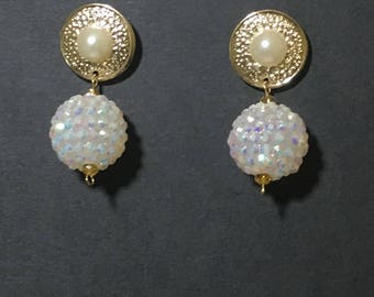 Pearl and Gold Omega Collection Earrings