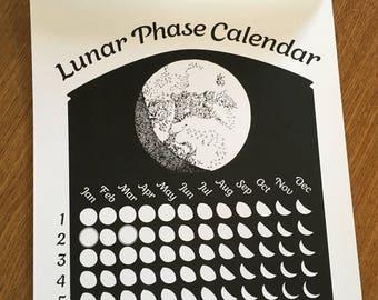 Black 2018 Lunar Phase Calendar Basic Black