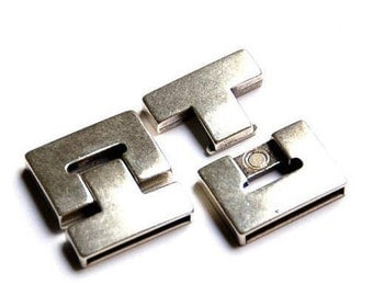 30mm Smooth Rectangle Antique Silver Magnetic Clasp Flat Leather Finding Zamak,