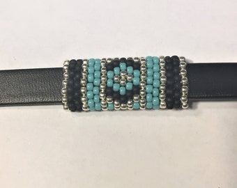 SALE: Versatile Handmade Beaded Tube, 2 Designs on one tube, Turquoise, Black, and Silver,  10mm Flat Leather finding round cords jewelry