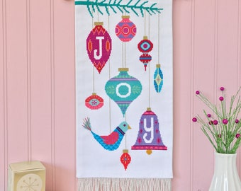 Joy - printed version - Satsuma Street modern Christmas cross stitch pattern
