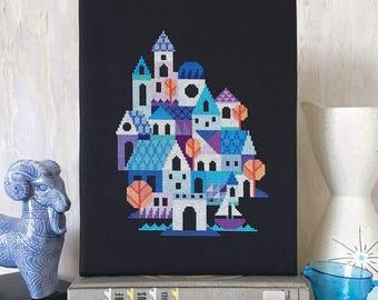Blue Village - printed version - Satsuma Street modern cross stitch pattern
