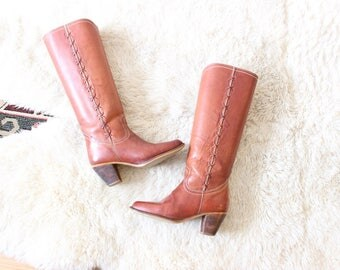 Vintage Leather Boots Knee High Cowboy Boots Rider Boots Red Leather Size 6 Women's