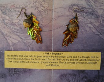 Shimmering Autumn Oak Leaf Earrings