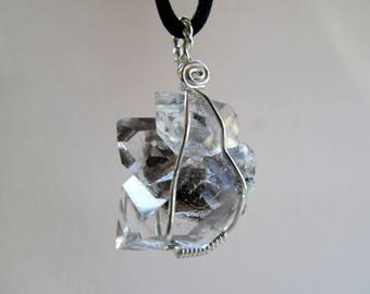 Herkimer Diamond Healing Crystal Pendant - New York Herkimer Diamond Crystal Cluster Wire Wrapped in Sterling Silver - Raw Crystal Necklace
