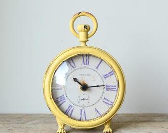 Vintage Inspired Yellow Shabby Desk Clock