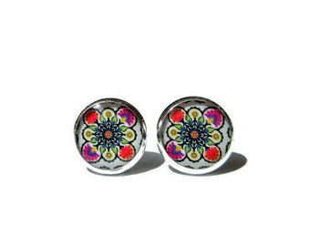 MEXICAN ART STUD earrings - Mexican Folk Art - Mexican Jewelry - Mexican earrings - Mexican Ornamental - post earrings
