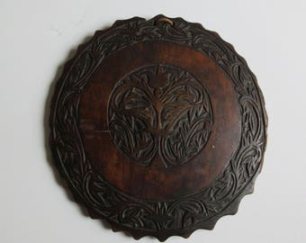 antique 1800's hand carved wooden wall hanging mirror frame