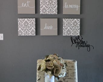 Beige Wall Decor Eat Drink Be Merry Wall Art Set Canvas Wall Hanging Gray  Chic Dining