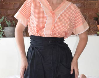 Peachy Gingham Blouse