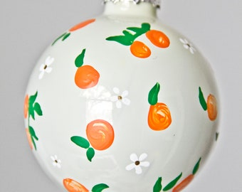Orange and White Blossoms Christmas Ornament // Hand Painted